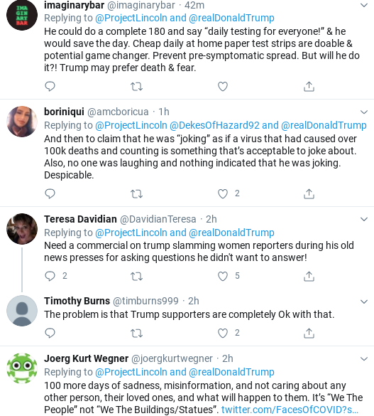 Screenshot-2020-07-25-at-6.02.04-PM 'The Lincoln Project' Trolls Trump Over COVID Testing In Weekend Video Coronavirus Donald Trump Election 2020 Politics Social Media Top Stories