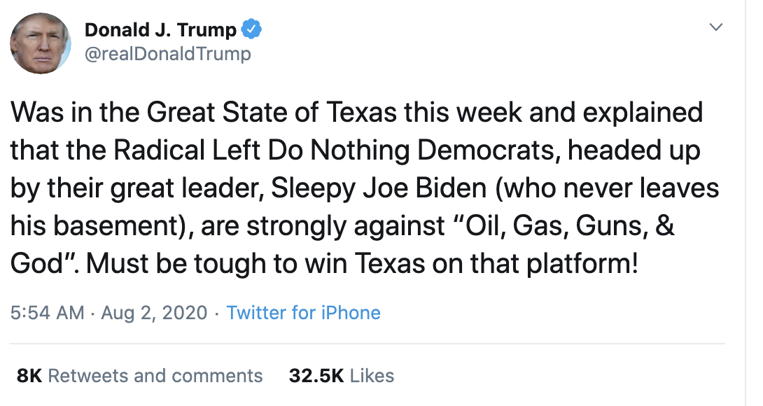 Screen-Shot-2020-08-02-at-8.11.28-AM Trump Goes Full 'Douche Bag' With Racist Sunday Morning Meltdown Coronavirus Election 2020 Featured Politics Top Stories