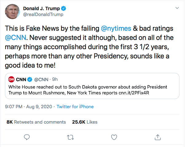 Screen-Shot-2020-08-09-at-9.40.20-PM Trump Snaps At CNN & NY Times During Deranged Twitter Meltdown Donald Trump Election 2020 Featured Politics Top Stories Twitter