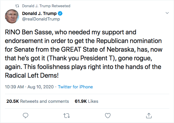 Screen-Shot-2020-08-10-at-6.30.10-PM Ben Sasse Responds To Trump's Twitter Tantrum Like A Real Adult Coronavirus Donald Trump Election 2020 Featured Impeachment Politics Top Stories Twitter