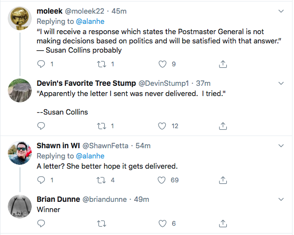 Screen-Shot-2020-08-13-at-5.36.01-PM Susan Collins Finally Ditches Trump Over Mail In Vote Sabotage Donald Trump Election 2020 Featured Politics Top Stories Twitter