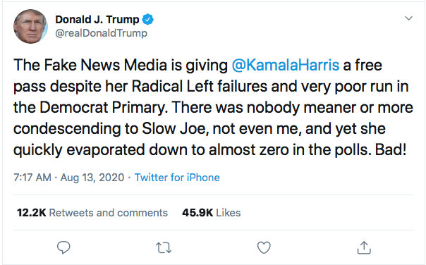 Screen-Shot-2020-08-13-at-9.07.06-AM Trump Tweets Directly To Kamala Harris Like A Scared Little Boy Donald Trump Election 2020 Featured Politics Top Stories Twitter