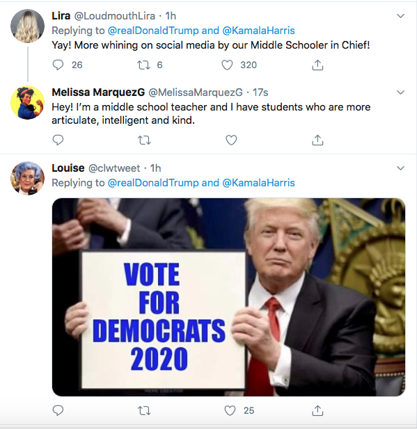 Screen-Shot-2020-08-13-at-9.11.13-AM Trump Tweets Directly To Kamala Harris Like A Scared Little Boy Donald Trump Election 2020 Featured Politics Top Stories Twitter