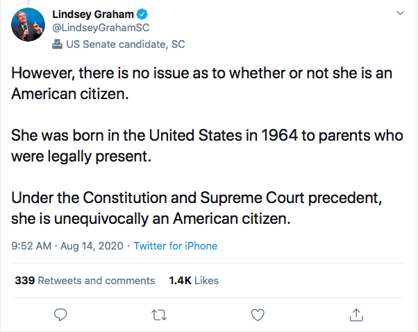 Screen-Shot-2020-08-14-at-11.11.22-AM Lindsey Graham Makes Kamala Harris 'Birther' Statement That Will Enrage Trump Donald Trump Election 2020 Featured Politics Top Stories Twitter