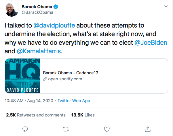 Screen-Shot-2020-08-14-at-11.37.58-AM Obama Tweets Defiant Friday USPS Sabotage Declaration Conspiracy Theory Donald Trump Election 2020 Featured Politics Top Stories Twitter