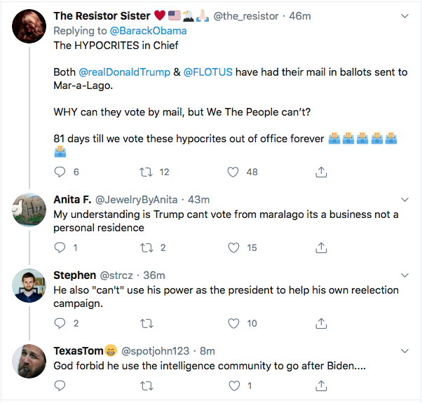Screen-Shot-2020-08-14-at-11.38.39-AM Obama Tweets Defiant Friday USPS Sabotage Declaration Conspiracy Theory Donald Trump Election 2020 Featured Politics Top Stories Twitter