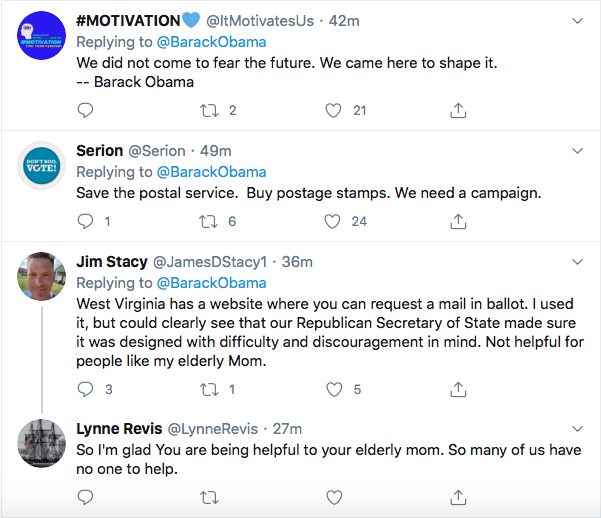 Screen-Shot-2020-08-14-at-11.39.31-AM Obama Tweets Defiant Friday USPS Sabotage Declaration Conspiracy Theory Donald Trump Election 2020 Featured Politics Top Stories Twitter