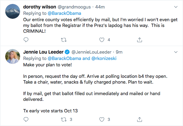 Screen-Shot-2020-08-14-at-11.41.05-AM Obama Tweets Defiant Friday USPS Sabotage Declaration Conspiracy Theory Donald Trump Election 2020 Featured Politics Top Stories Twitter