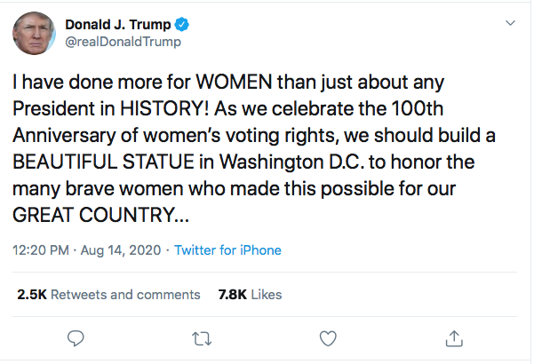 Screen-Shot-2020-08-14-at-12.25.54-PM Trump Declares Himself Best President For Women In 'History' Donald Trump Election 2020 Featured Feminism Politics Sexism Top Stories Twitter