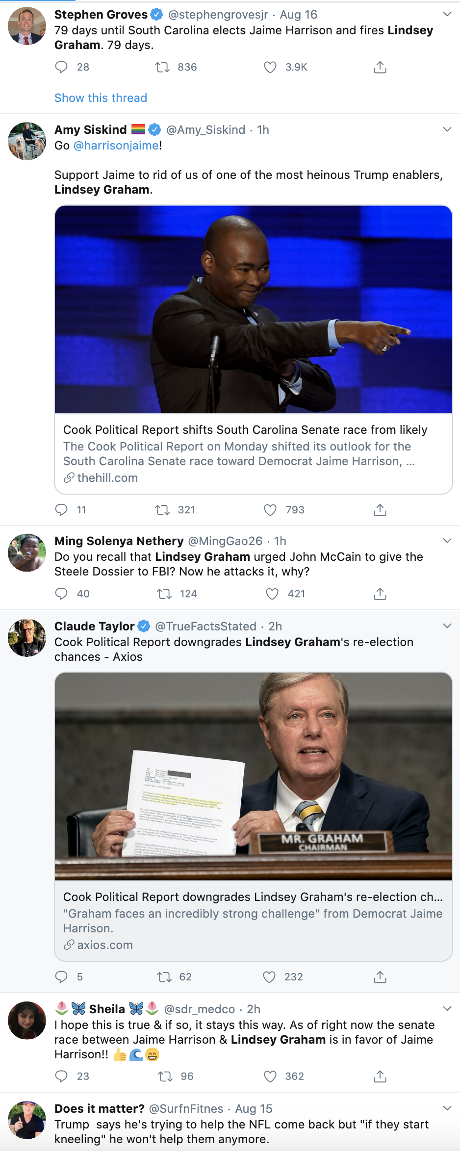 Screen-Shot-2020-08-17-at-11.15.56-AM Lindsey Graham's 2020 Re-Election Chances Take Major Blow Election 2020 Featured Politics Racism Top Stories