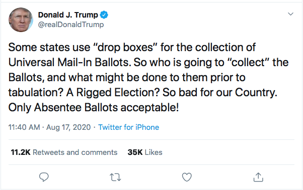 Screen-Shot-2020-08-17-at-12.25.58-PM Trump Tweets Mid-Day Mental Malfunction Over USPS Sabotage Fallout Uncategorized