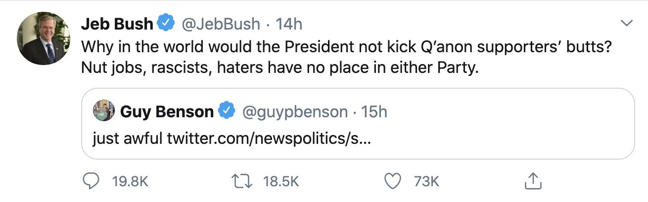 Screen-Shot-2020-08-20-at-9.01.57-AM Jeb Bush Publicly Shames Donald Trump & His GOP Wackos Conspiracy Theory Election 2020 Featured Politics Top Stories