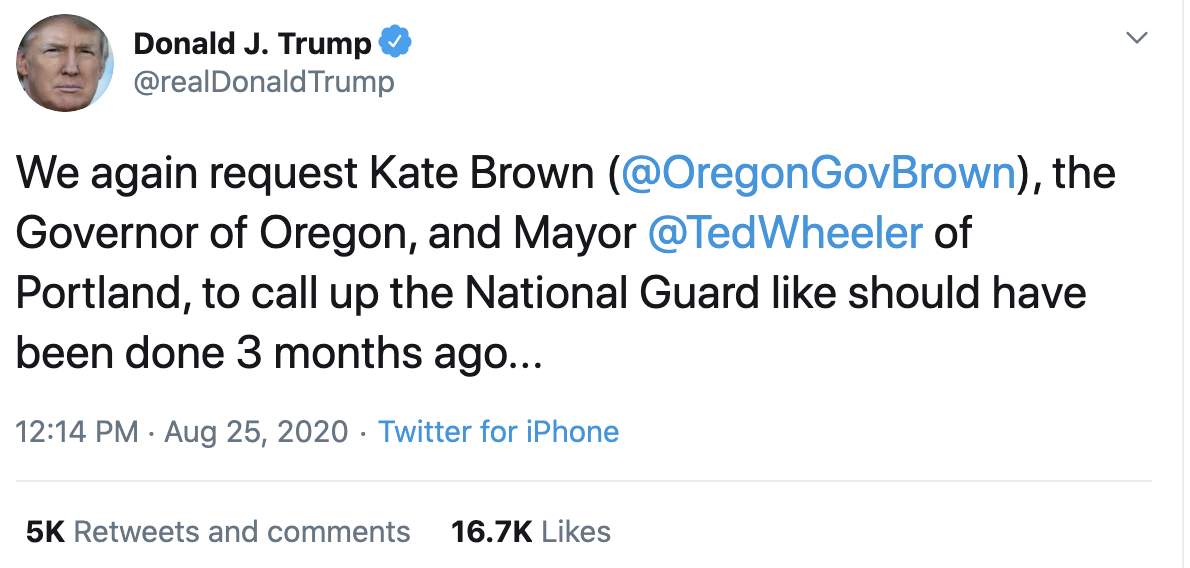 Screen-Shot-2020-08-25-at-12.39.06-PM Trump Tweets Threat Of Federal Forces To Stop Liberal 'Agitators' Featured Police Misconduct Politics Protest Top Stories