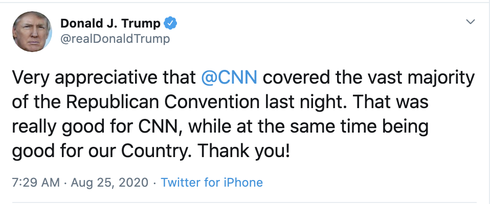 Screen-Shot-2020-08-25-at-7.35.28-AM Trump's Twitter Account Posts Bizarre Tuesday Morning CNN Shout Out Election 2020 Featured Politics Top Stories
