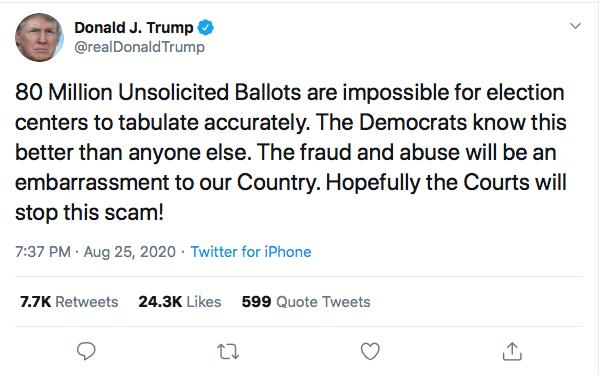 Screen-Shot-2020-08-25-at-8.03.57-PM Trump Kicks Of Night 2 Of RNC With Deranged Ballot Fraud Meltdown Donald Trump Election 2020 Featured Politics Top Stories Twitter