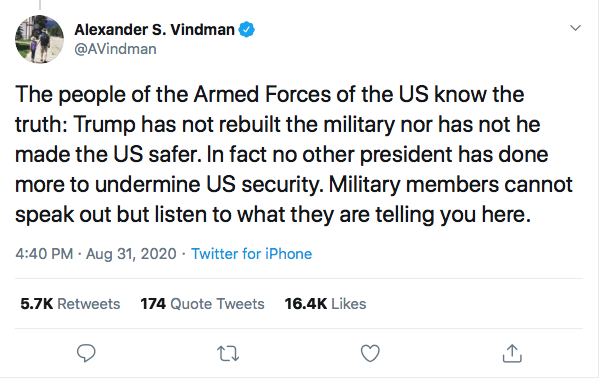 Screen-Shot-2020-08-31-at-9.24.21-PM Alexander Vindman Trolls Trump Over Poll Showing Military Members Loving Biden Donald Trump Election 2020 Featured Military Politics Top Stories