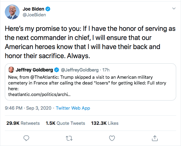 Screen-Shot-2020-09-04-at-10.40.09-AM Biden Publicly Shames Trump For Calling Troops 'Losers' Donald Trump Election 2020 Featured Military Politics Top Stories Twitter