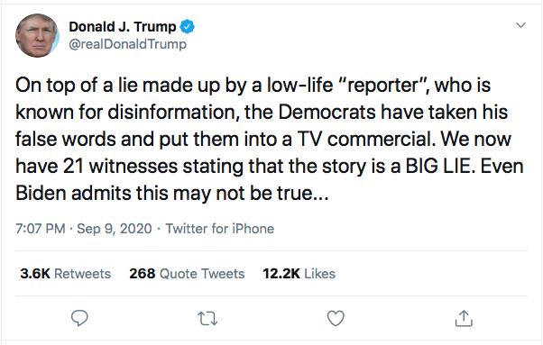 Screen-Shot-2020-09-09-at-7.24.10-PM Trump Sees Woodward Coverage & Suffers 5-Tweet Evening Meltdown Coronavirus Donald Trump Election 2020 Featured Politics Top Stories Twitter