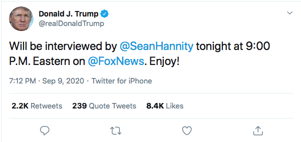 Screen-Shot-2020-09-09-at-7.24.44-PM Trump Sees Woodward Coverage & Suffers 5-Tweet Evening Meltdown Coronavirus Donald Trump Election 2020 Featured Politics Top Stories Twitter