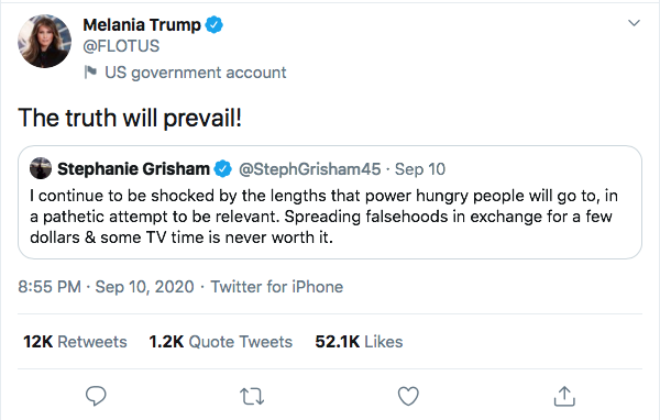 Screen-Shot-2020-09-12-at-11.23.15-AM Melania Trump Tweets Call For 'Truth' & Gets Humiliated In Seconds Donald Trump Election 2020 Featured Politics Top Stories Twitter