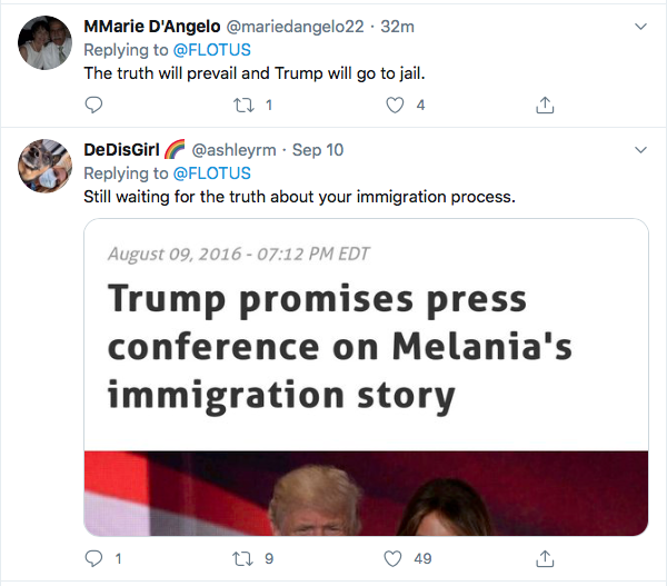 Screen-Shot-2020-09-12-at-11.28.00-AM Melania Trump Tweets Call For 'Truth' & Gets Humiliated In Seconds Donald Trump Election 2020 Featured Politics Top Stories Twitter