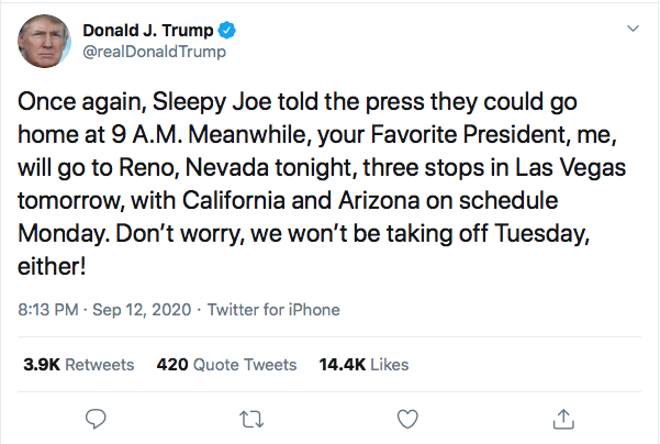 Screen-Shot-2020-09-12-at-8.24.23-PM Trump Live-Tweets Saturday Night Spazz Out Donald Trump Election 2020 Featured Politics Top Stories Twitter