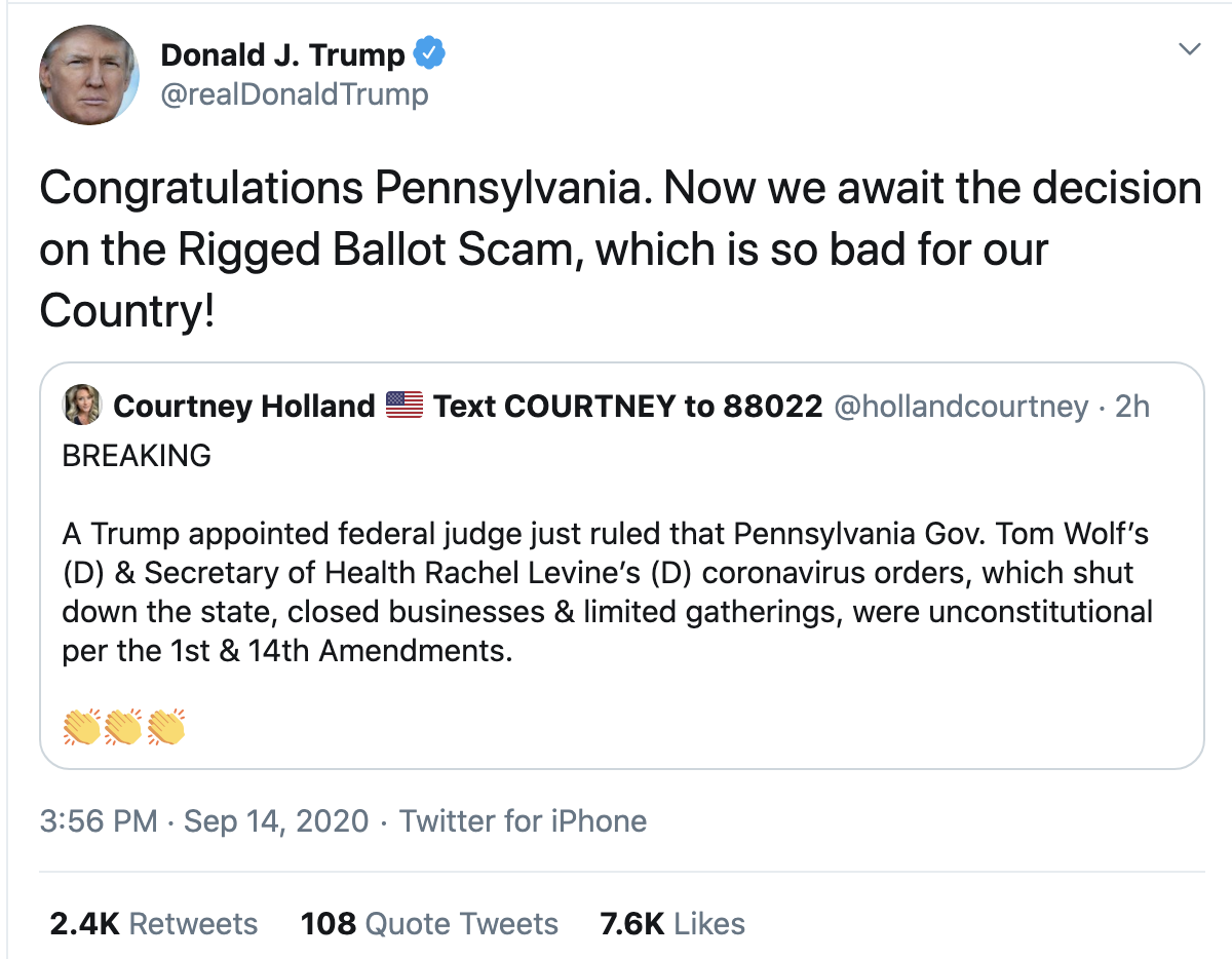 Screen-Shot-2020-09-14-at-4.10.20-PM Trump Tweets Desperate Evening Attempt To Invalidate Mail Votes Election 2020 Politics Polls Top Stories
