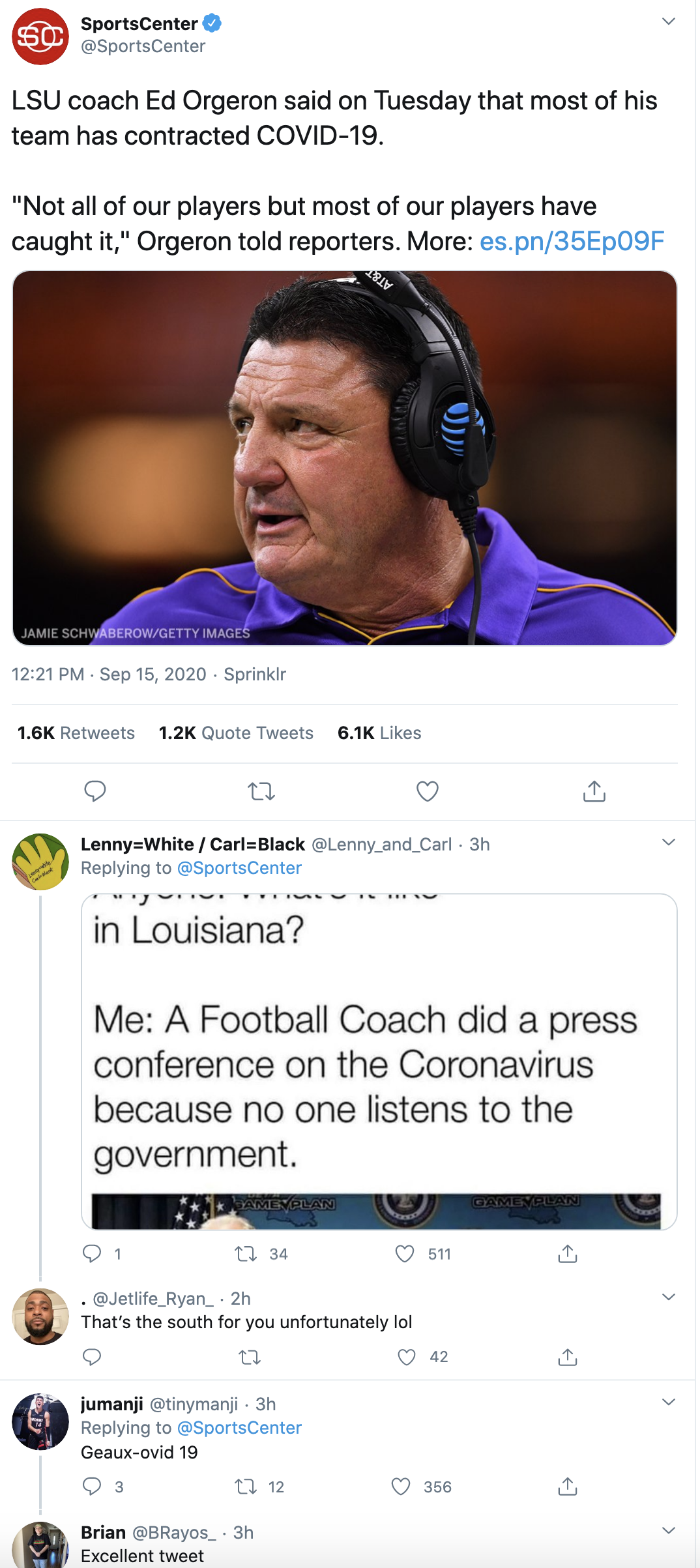 Screen-Shot-2020-09-15-at-4.11.24-PM Almost Entire LSU Football Team Contracts COVID-19 Coronavirus Featured Politics Sports Top Stories