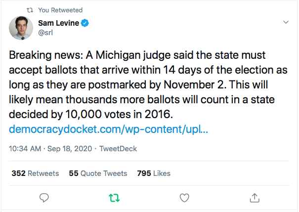 Screen-Shot-2020-09-18-at-11.32.09-AM Judge Rules Defiantly Against Trump Again & Orders Extended Voting Period Coronavirus Donald Trump Election 2020 Featured Politics Top Stories