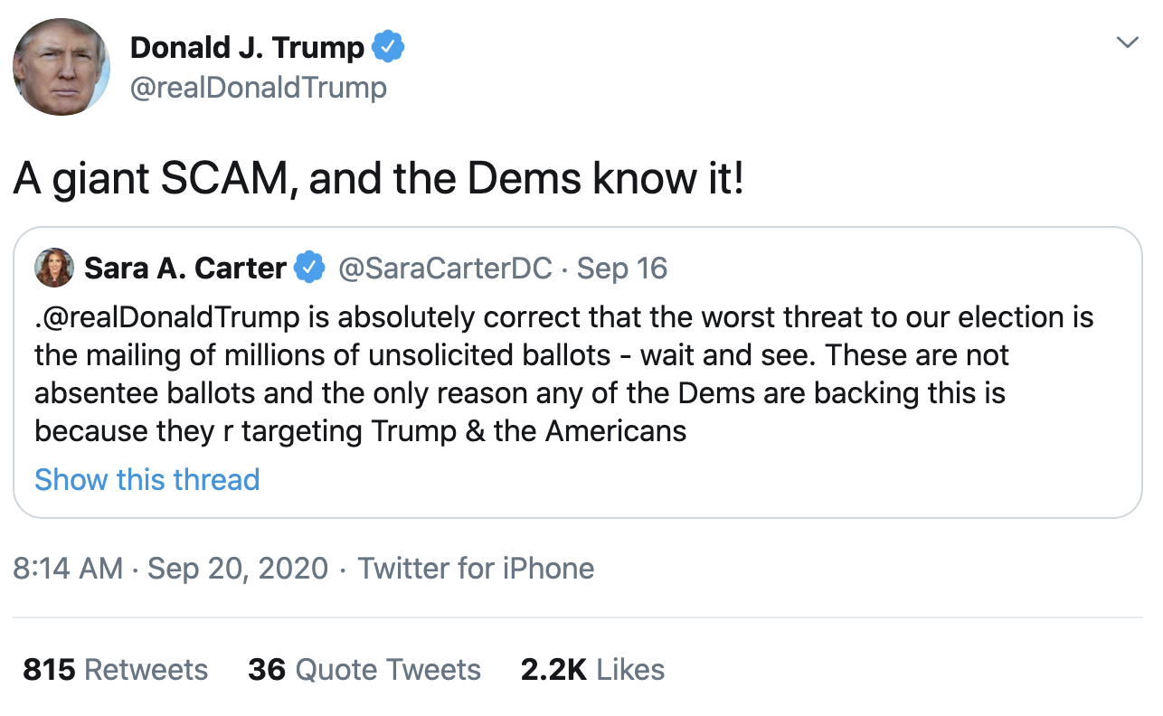 Screen-Shot-2020-09-20-at-8.17.54-AM Trump Fires-Off 14 Deranged Tweets During Sunday Morning Meltdown Conspiracy Theory Election 2020 Featured Politics Top Stories