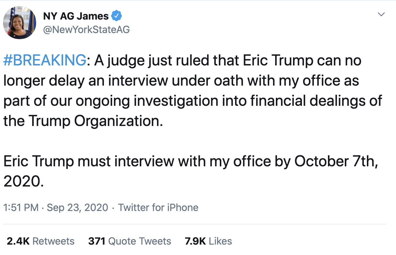 Screen-Shot-2020-09-23-at-2.03.56-PM NY Attorney General Tweets Direct Threat To Terrified Eric Trump Corruption Crime Featured Politics Top Stories