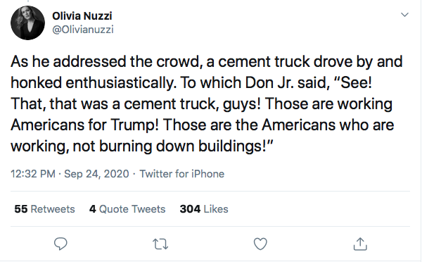 Screen-Shot-2020-09-24-at-3.49.22-PM Don Jr Humiliated At Campaign Rally After Hecklers Troll Him Hard Donald Trump Election 2020 Featured Politics Top Stories Twitter