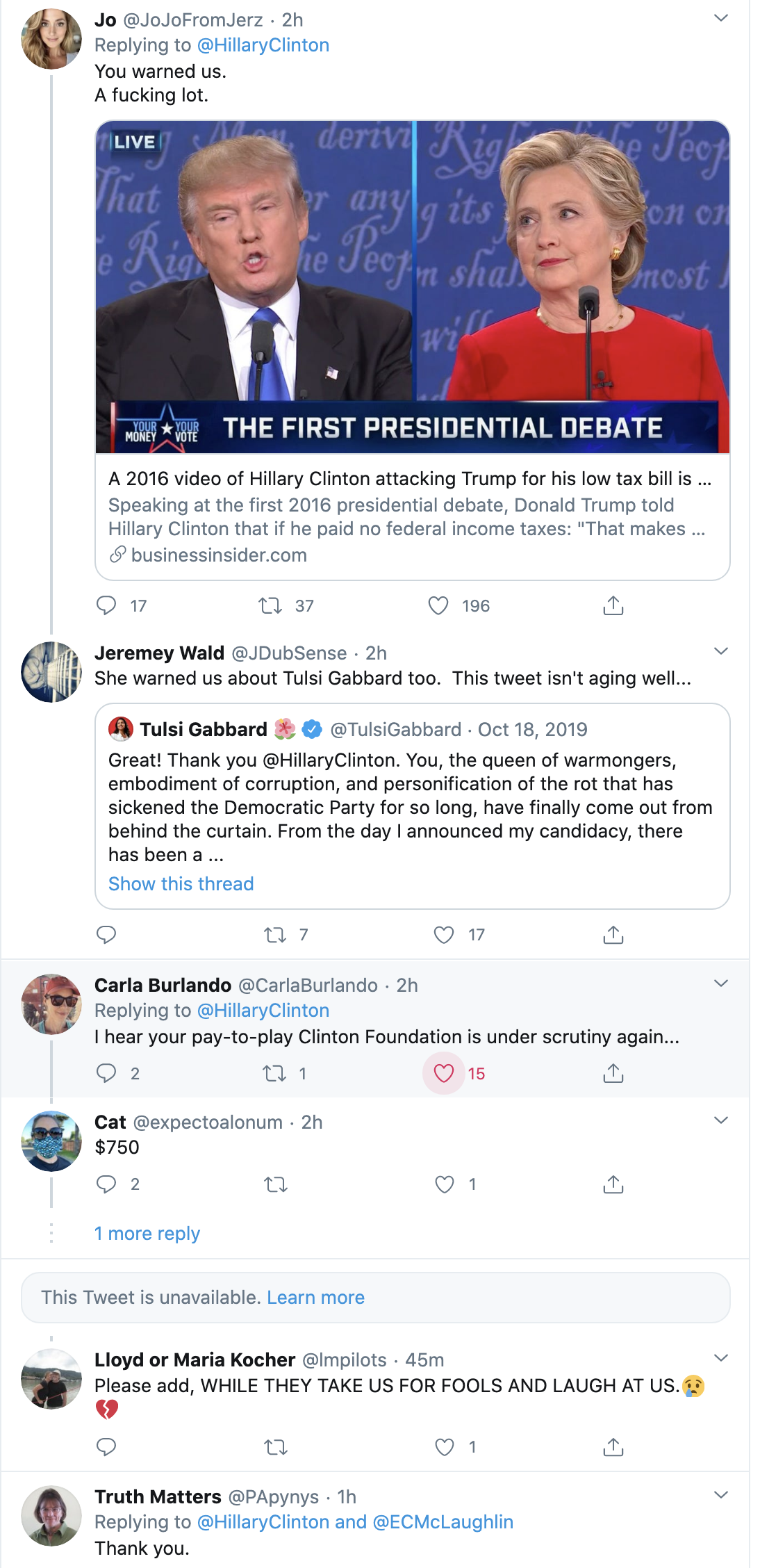 Screen-Shot-2020-09-29-at-12.54.43-PM Hillary Issues Pre-Debate Trolling Of Trump Over NY Times Tax Leak Election 2020 Featured Hillary Clinton Politics Top Stories