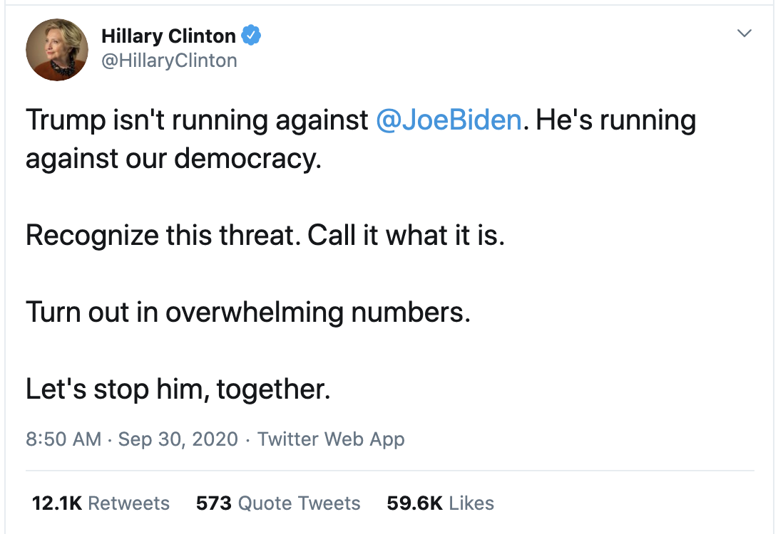 Screen-Shot-2020-09-30-at-10.09.45-AM Hillary Hits Trump While Down With Post-Debate Reality Check Election 2020 Featured Hillary Clinton Politics Top Stories