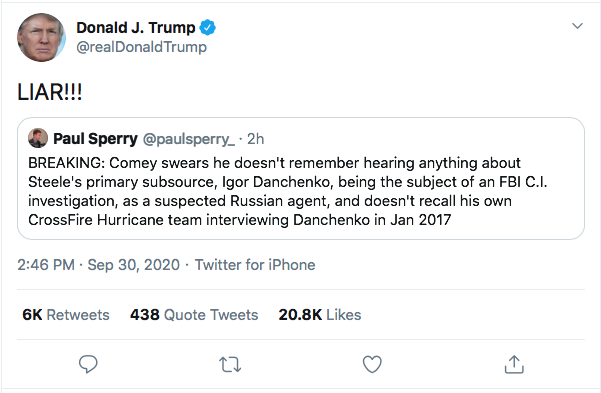 Screen-Shot-2020-09-30-at-3.37.30-PM Trump Spazzes Into Wildly Unhinged Afternoon Tweet Storm Over Debate Failure Donald Trump Election 2020 Featured Politics Top Stories Twitter