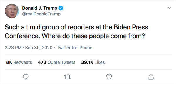 Screen-Shot-2020-09-30-at-3.38.18-PM Trump Spazzes Into Wildly Unhinged Afternoon Tweet Storm Over Debate Failure Donald Trump Election 2020 Featured Politics Top Stories Twitter