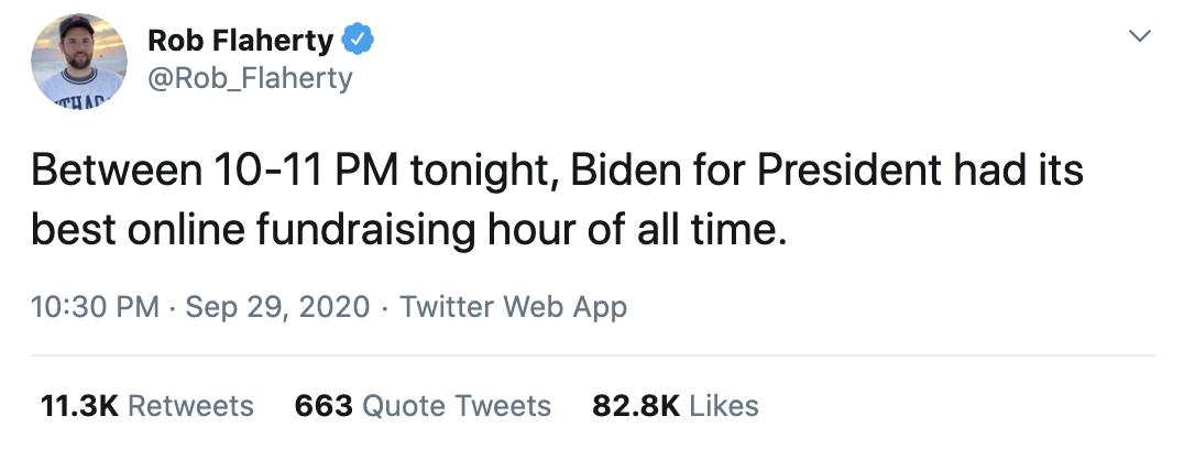 Screen-Shot-2020-09-30-at-8.57.25-AM Trump Terrified After Biden Raises Astronomical Amount Of Cash Post-Debate Corruption Election 2020 Featured Politics Top Stories