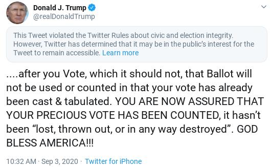 Screenshot-2020-09-03-at-4.03.40-PM Twitter Penalizes Trump's Account After He Encourages Crime Donald Trump Politics Social Media Top Stories