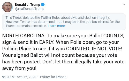 Screenshot-2020-09-12-at-11.05.14-AM Twitter Punishes Trump For Attempted Election Interference Attempt Donald Trump Politics Social Media Top Stories