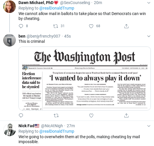 Screenshot-2020-09-12-at-4.43.57-PM Trump Rages Into 'Mail In Ballot Scam' Saturday Afternoon Meltdown Corruption Donald Trump Election 2020 Politics Social Media Top Stories