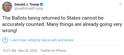 Screenshot-2020-09-28-at-12.47.34-PM Twitter Places Notice On Trump Tweet Over Election Interference Attempt Donald Trump Election 2020 Politics Social Media Top Stories