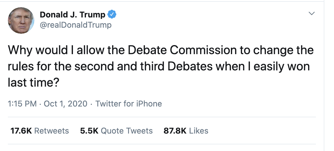 Screen-Shot-2020-10-01-at-2.52.12-PM Trump Has Thursday Afternoon Hissy-Fit Over Debate Failure Election 2020 Featured Politics Public Safety Top Stories
