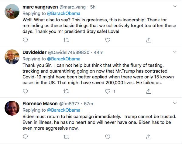 Screen-Shot-2020-10-03-at-9.52.18-AM Obama Tweets Weekend Leadershjip Message To America As Trump Flounders Coronavirus Election 2020 Featured Politics Top Stories Twitter