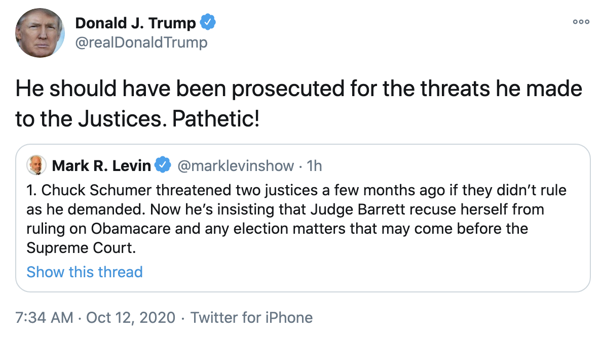 Screen-Shot-2020-10-12-at-7.41.40-AM Trump Fires Off 16-Tweet Morning Mega-Rant Like A Desperate Old Man Crime Election 2020 Featured Politics Top Stories
