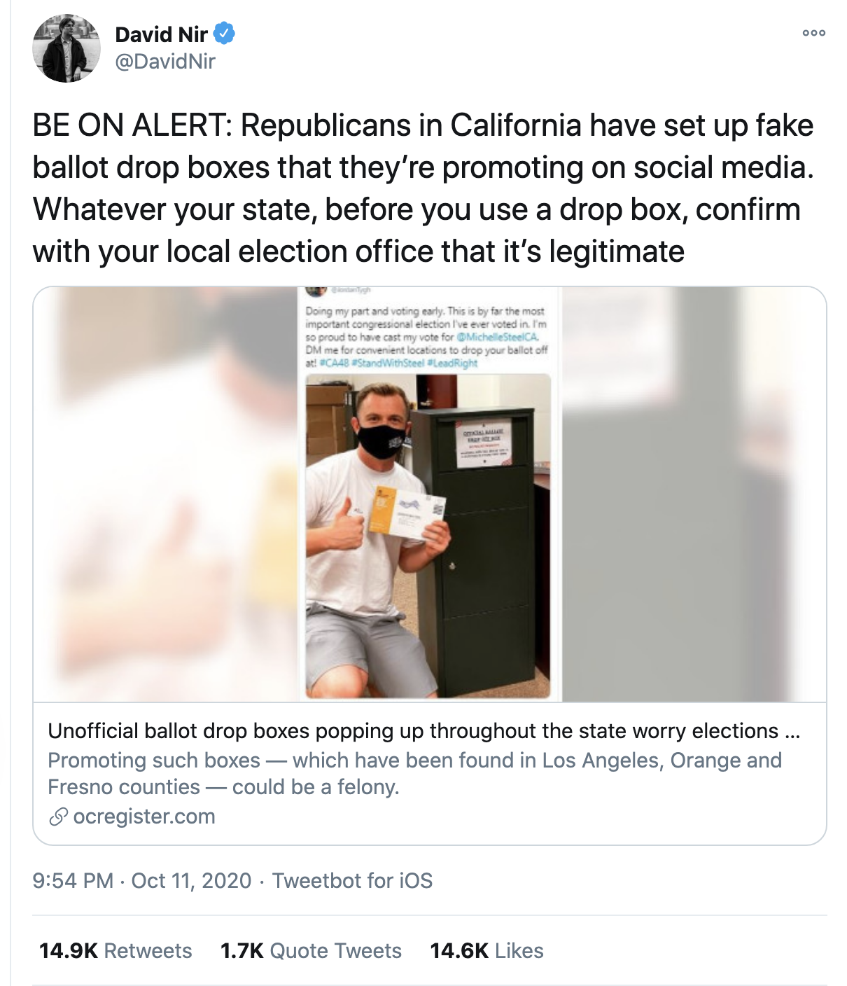 Screen-Shot-2020-10-12-at-8.59.14-AM GOP Caught Using Unofficial Ballot Drop-Off Boxes To Trick Voters Corruption Election 2020 Featured Politics Top Stories
