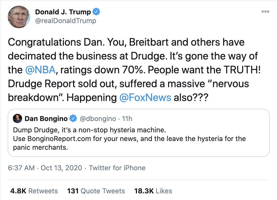 Screen-Shot-2020-10-13-at-7.26.45-AM Trump Fires Off 15-Tweet Morning Mega Rant Like A Delirious Old Man Election 2020 Featured Mental Illness Politics Top Stories