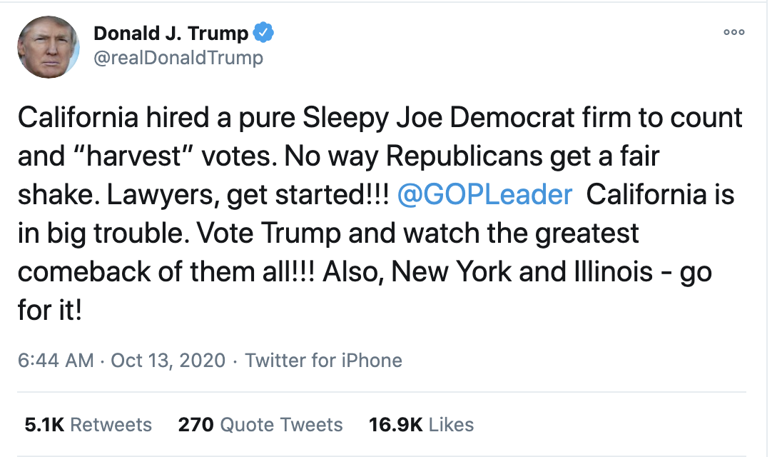 Screen-Shot-2020-10-13-at-7.27.47-AM Trump Fires Off 15-Tweet Morning Mega Rant Like A Delirious Old Man Election 2020 Featured Mental Illness Politics Top Stories