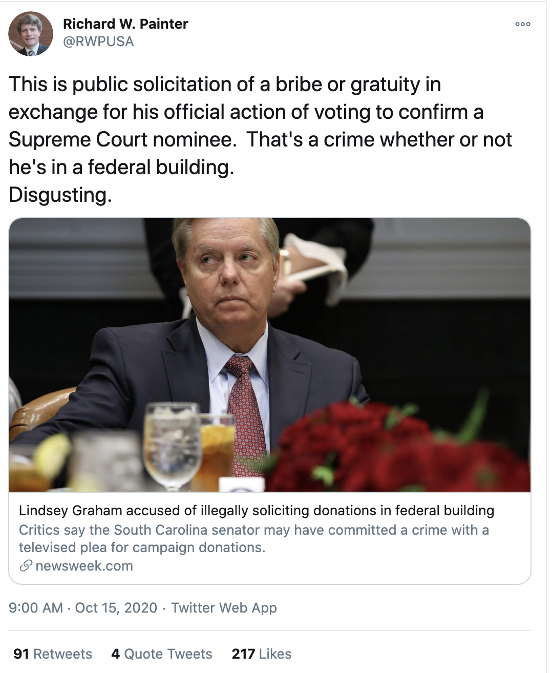 Screen-Shot-2020-10-15-at-9.05.16-AM Lindsey Graham Blindsided By Felony Financial Crime Accusation Corruption Election 2020 Featured Politics Top Stories