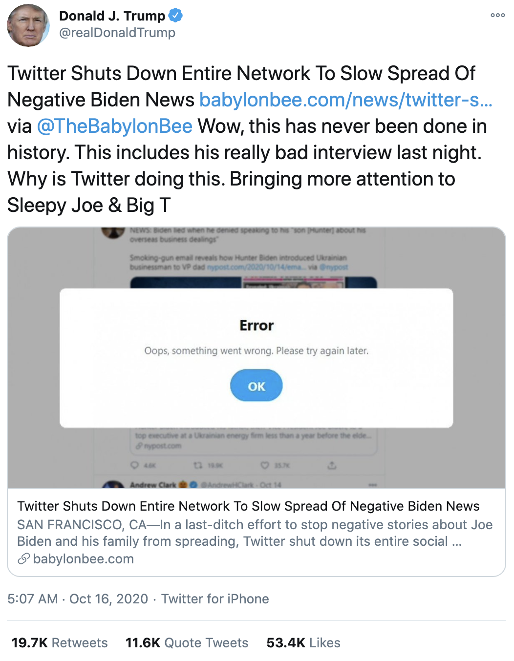 Screen-Shot-2020-10-16-at-8.15.22-AM Trump Follows Up 'Town Hall' With 14-Tweet Morning Explosion Of Insanity Election 2020 Featured Politics Top Stories