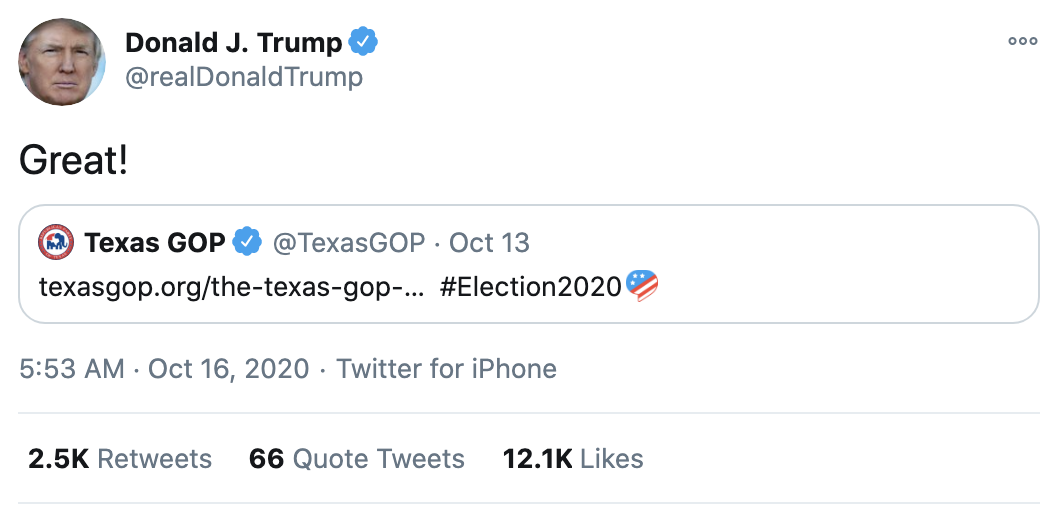 Screen-Shot-2020-10-16-at-8.18.30-AM Trump Follows Up 'Town Hall' With 14-Tweet Morning Explosion Of Insanity Election 2020 Featured Politics Top Stories